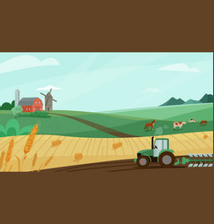 farm landscape with green vector image