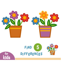 Find differences pot flowers vector