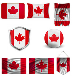 Flag canada canada red nationality nation vector