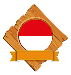 Flag indonesia on wooden board vector
