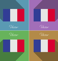 Flags Frence Set of colors flat design and long vector image