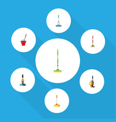 flat icon cleaner set of broom equipment sweep vector image