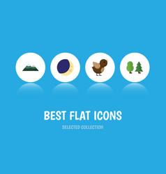 Flat icon ecology set of half moon bird peak and vector