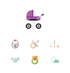 Flat kid set of mobile napkin stroller and other vector