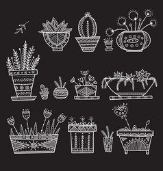 Flower pots and house plants set vector