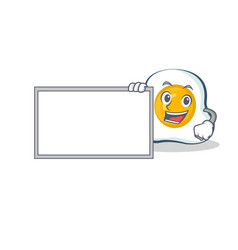 fried egg character cartoon with board vector image