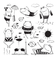 Frogs Summer Swimming Drawing Collection vector image