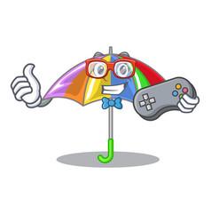 Gamer rainbow umbrella in chracter that fun vector