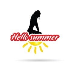girl with hello summer sign vector image