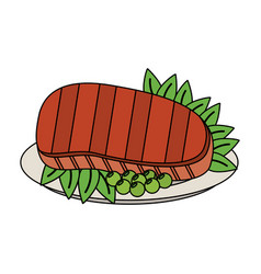 grilled beef with vegetables icon vector image