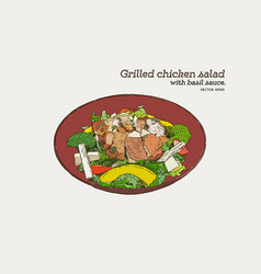 Grilled chicken salad with pesto sauce hand draw vector