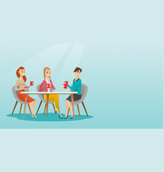 Group of women drinking hot and alcoholic drinks vector