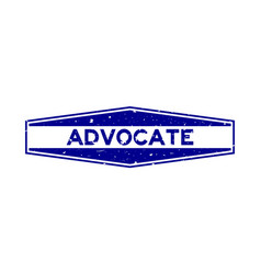 Grunge blue advocate word hexagon rubber seal vector