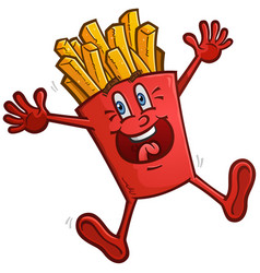 Happy dancing french fries cartoon character vector