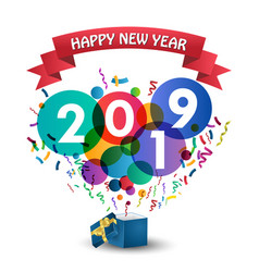 Happy new year 2019 celebration with gift box vector