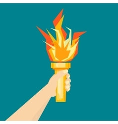 Human Hand with Fire Torch vector image