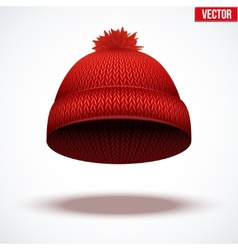 Knitted woolen cap Winter seasonal red hat vector image