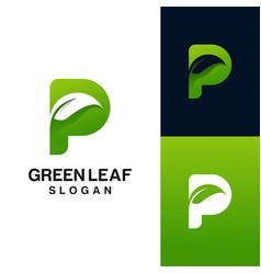 Letter p with leaf logo design vector