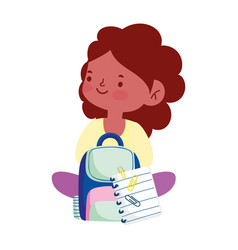 little student girl with backpack and paper vector image