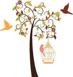 Love Tree and Birds set vector image