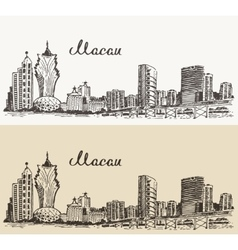 Macau skyline hand drawn vector