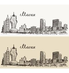 Macau skyline hand drawn vector image