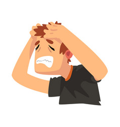 man with a headache disease of the head migraine vector image