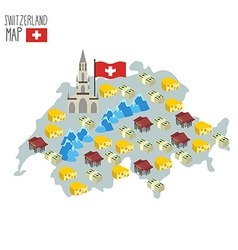 Map of Switzerland Attraction of Berne Cathedral vector