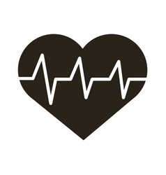 Medical heart cardiology pulse silhouette icon vector