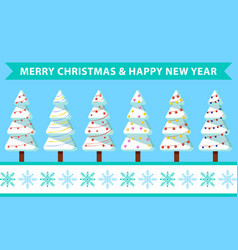 merry christmas and happy new year fir trees set vector image