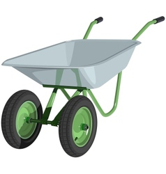 Metal wheelbarrow isolated vector