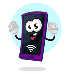 mobile emoji with a wi fi signal and hands up on vector image
