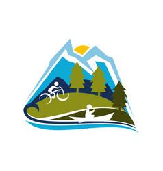 Mountain sport logo design template vector