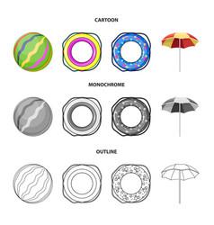 Multicolored swimming circle cartoonoutline vector