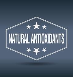 Natural antioxidants hexagonal white vintage retro vector