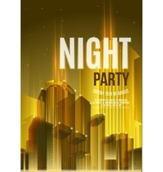 Night Party Yellow Flyer Template - EPS10 vector image