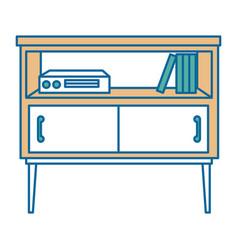 Nightstand bedroom with books vector