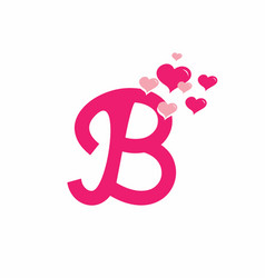 Pink b initial letter with love sign valentine vector