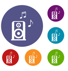 Portable music speacker icons set vector