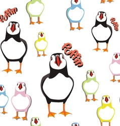 Puffin bird pattern 2 vector