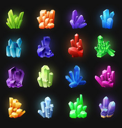 Realistic colorful crystals on black background vector