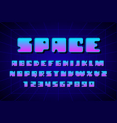 Retro font in the style of 80s uppercase letters vector