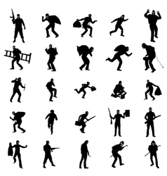 Robber silhouette set vector