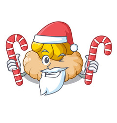 Santa with candy ice cream biscuit on wafers vector