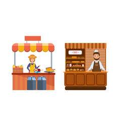 Sellers standing at food counter sells products vector
