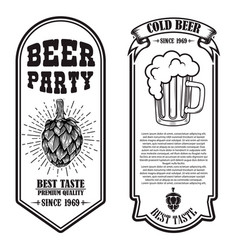 set beer flyers with hop and beer mug design vector image