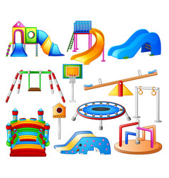 set collection kids playground city park set vector image
