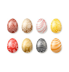 set colored easter eggs collection isolated on vector image