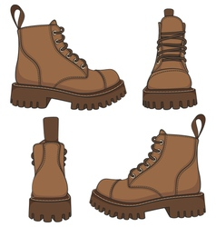 set of drawings with brown boots vector image