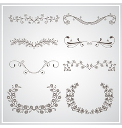 Set of elegant calligraphic foliate borders vector image